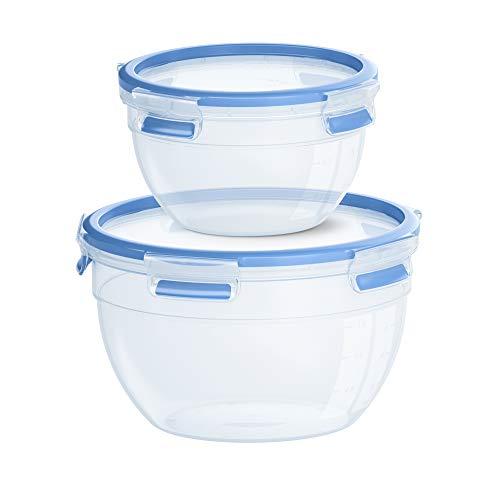 Emsa N1011600 Clip & Close Frischhaltedosen 2er Set rund (Fassungsvermögen: 1,1 Liter und 2,6 Liter, Clip-Verschluss, Kunststoff) Transparent/Blau