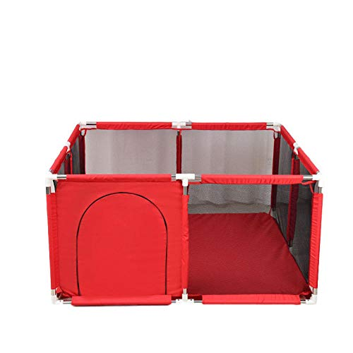 Vitila 22 sq ft RojoSuelos Parques Infantiles con Malla Transpirable,4 Piezas Colchon Parque Cuadrado para Recién Nacidos Recién Nacido Recién Nacido, Play Center Afety Fence