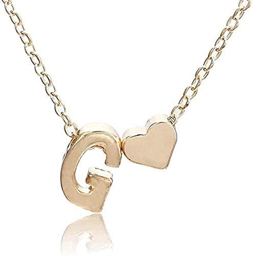 LKLFC Collar Collar de Cadena para Mujer Colgante de Letra y corazón Collar Simple joyería Colgante Collar Regalo para Mujeres Hombres niñas niños