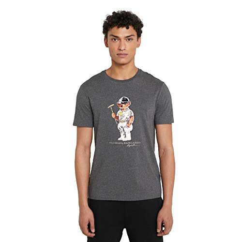 Polo Ralph Lauren T-Shirt Custom Slim fit Polo Bear (Dark Grey, L)