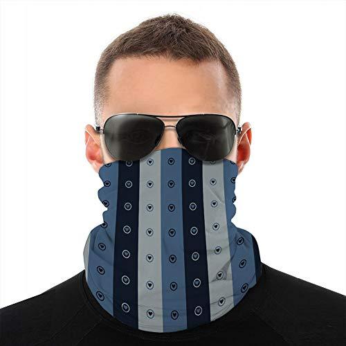 BandanaCouverture Shield Femmes Hommes pour Dust Wind Protection solaire indigo bleu amour coeur rayure écharpe sans couture
