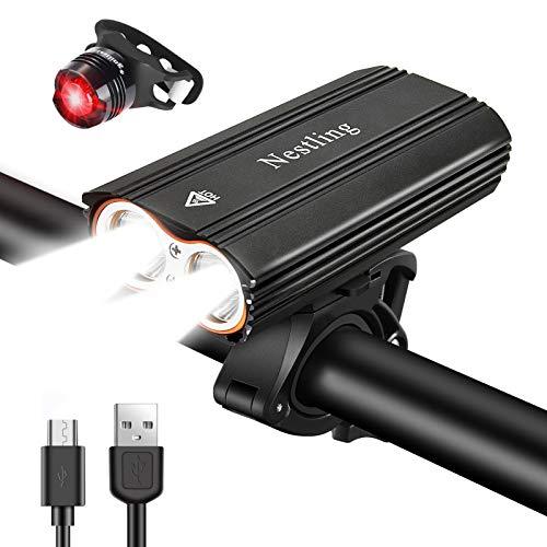 Nestling®Luz Bicicleta,Luz Bicicleta LED Recargable USB con 4 Modos 2400 Lúmenes IP65...