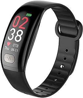 Reloj Inteligente Reloj pulsera Deportes inteligente con la presión arterial del ritmo cardíaco a prueba de agua rastreador de ejercicios for niños Hombres Mujeres for iPhone Android ( Color : Black )