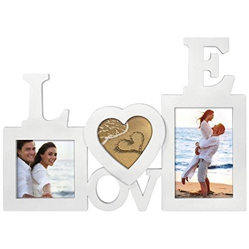 Hama Collage Bilderrahmen für Fotocollagen Alexandria (Fotorahmen mit Love-Schriftzug für 3 Fotos, Kunststoff-Rahmen, Echtglas) Fotogalerie weiß