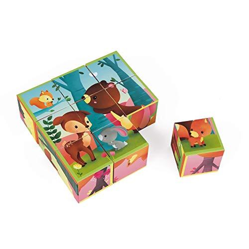 Janod - J02731 - Kubkid - 9 cubes en carton - Animaux de la forêt