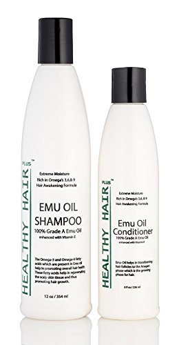 Healthy Hair Plus – Emu Oil Shampoo (12oz) and Conditioner (8oz) Deep Moisturizing Hair Care for Dry Hair and Scalp