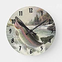 Enidgunter Vintage Rainbow Trout Fish Fisherman Fishing Large Wall Clocks Decorative for Living Room Kitchen Bedroom Bathroom Home Office Decor 12 inches