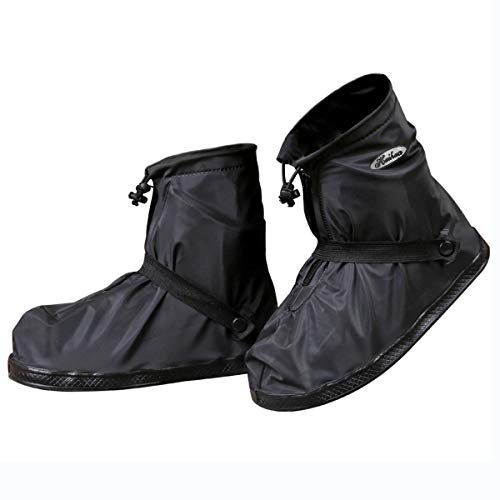JIANKE Regenüberschuhe Fahrrad Wasserdicht Überschuhe Regen Schuhüberzieher Mehrweg rutschfest Motorrad Regenschutz Schuhe(Schwarz-392,2XL)