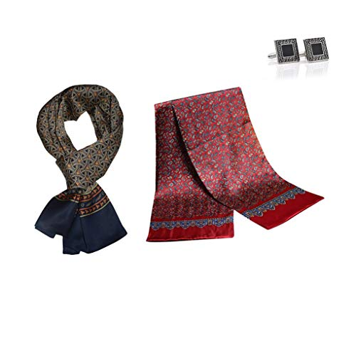 UK_Stone Halstuch Herren 100% Seide Schal Vintage Pattern Seidenschal Herrenschal, (Überraschung 2er_1 mit Manschettenknöpfe)