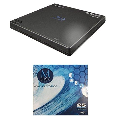 Pioneer 6X BDR-XD05B Portable USB 3.0 Blu-ray Burner Bundle with 1 Pack M-DISC BD - Supports BDXL, BD, DVD, and CD Media (Black, Retail Box)