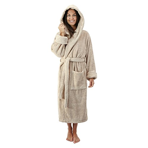 Comfy Robes Women's Deluxe 20 oz. Turkish Cotton Hooded Bathrobe, XXL Beige