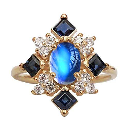 geshiglobal Anillos para mujeres y niñas, piedra de luna sintética cuadrada con diamantes de imitación para mujer, anillo de dedo, joyería de compromiso, regalo, Yellow Golden*US 9,