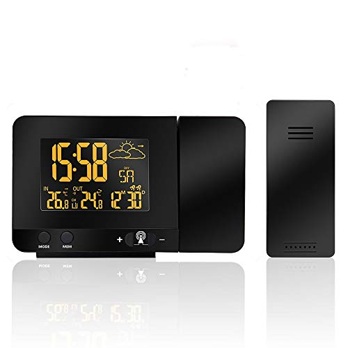 FORNORM Projektionswecker Funk mit Netzteil Außensensor, Projektionswecker mit Temperatur & Zeit Farbdisplay, Monat, Datum, Woche, Dual Alarm Snooze Funktion, 120°Drehbare Projektion