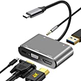 DIWUER USB C a HDMI VGA Adaptador, 5 en 1 Hub Tipo C a HDMI 4K VGA 1080P USB3.0 y PD3.0 Audio Multipuerto Adaptador para Thunderbolt 3/MacBook/Macbook Pro/Huawei/Samsung Otros USB C Dispositivos etc