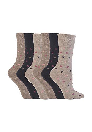 """-6Paar nicht elastische Damensocken """"Gentle Grip"""", Größe UK: 4–8, EUR: 37–42 Gr. Medium, GG48"""
