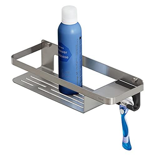 Tiger Caddy Duschkorb mit Haken, Duschablage aus Edelstahl mit integriertem Haken für Handtuch, Schwamm, Rasierer oder Duschabzieher, Farbe: Edelstahl gebürstet