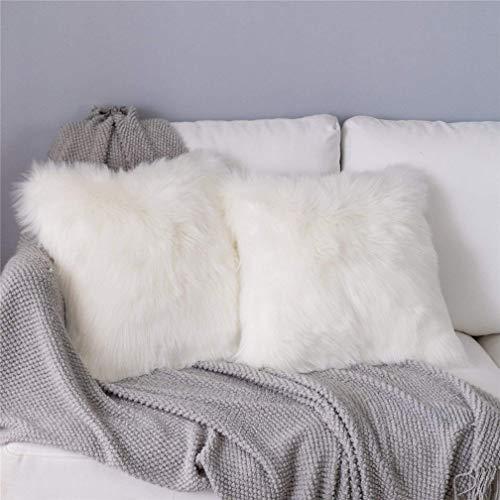 Sweetwill 2Pcs Fluffy Soft Square Pillow covers Faux Fur Throw Decorative Pillow Cover Plush Pillow Case Faux Fur Cushion Covers For Livingroom Sofa Bedroom Car (2pcs White, 45 x 45 cm / 18x18)