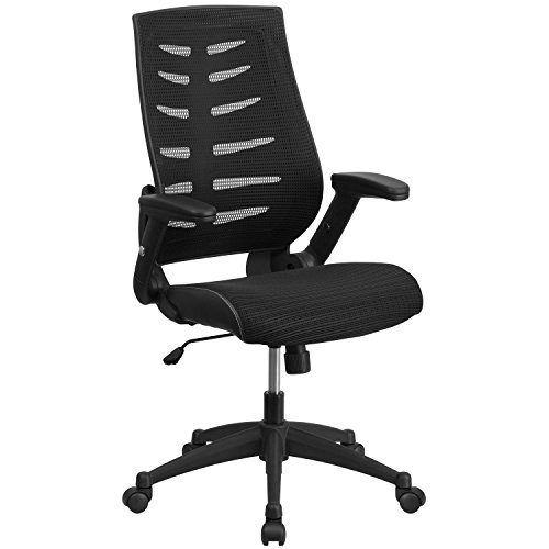 Flash Furniture High Back Designer Black Mesh Executive Swivel Ergonomic Office Chair with Height Adjustable Flip-Up Arms, BIFMA Certified