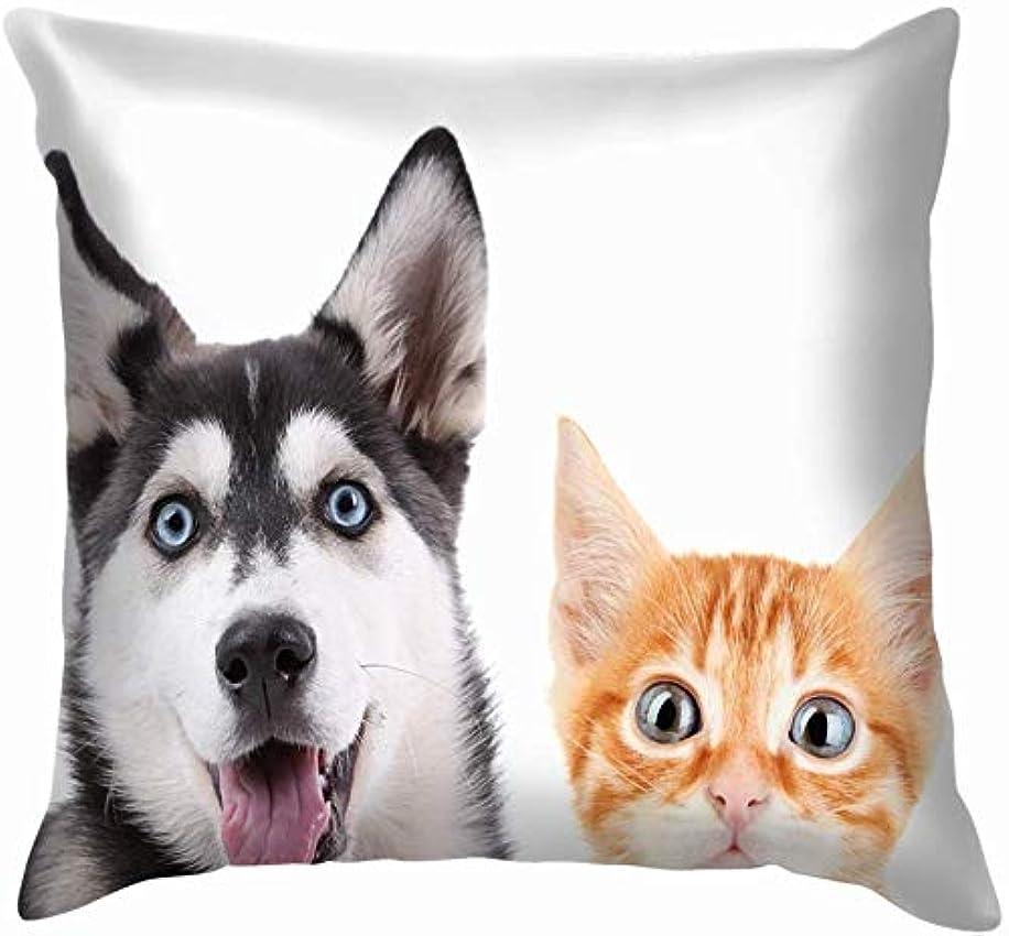 ワーディアンケース真空開示するリトル?レッド?キトンハスキー子犬孤立した動物野生動物おかしい投げ枕カバーホームソファクッションカバー枕カバーギフト45x45 cm
