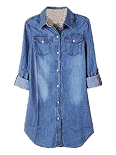 jeans donna quadri BESTHOO Camicetta Donna Camicia a Quadro Classica Bottone Tasca Camicetta Lunga Manica Blusa Maglietta Casual Maglie Blusa Lungo Vestido de Mezclilla Autunno Invernale