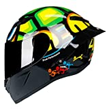 TorkeRng Full Face Carbon Fiber Motorcycle Professional Racing Helmet DOT Rainbow Visor Motocross Off Road Touring Gloss 7 XXL