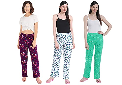Fflirtygo Cotton Printed Track Pant/Payjama/Lounge Wear – Soft Cotton Night Wear/Pyjama for Women Combo Pack of 3Pcs, Prints May Vary (Assorted Pyjama)