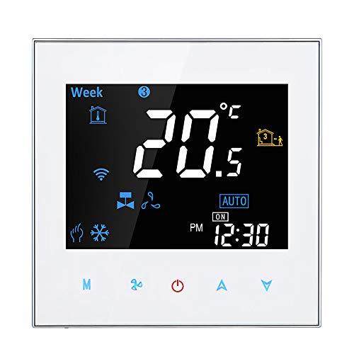 Adaskala Termostato de Ambiente Inteligente de Cuatro Tubos Controlador de Temperatura Digital programable para Aire Acondicionado (BAC-3000EL, Blanco)