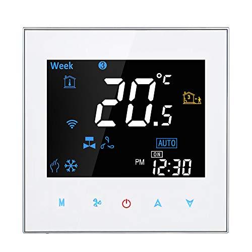 Adaskala Controlador de Temperatura programable Digital de termostato de habitación Inteligente de Voz de Dos tuberías WiFi para Aire Acondicionado (BAC-3000ALW, Blanco)
