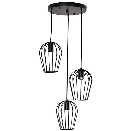 HOMCOM Pendelleuchte Hängeleuchte, moderne, geometrische Hängelampen, Kronleuchter, Metall, Schwarz Ø38 x 145H cm