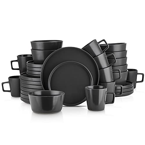 Stone Lain Coupe Dinnerware Set, Service For 8, Black Matte, 32 Piece