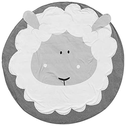 ERTG Alfombra Redonda de algodón, Alfombra Redonda para bebés Alfombra para Gatear de algodón Alfombras de área de Dibujos Animados de Animales para niños de Cuarto de niños