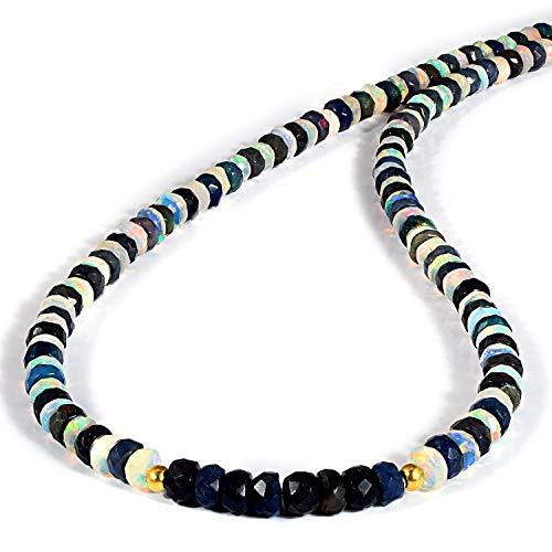 Collar de ópalo etíope 100% natural de Welo fuego blanco y negro de 45,72 cm, collar de ópalo etíope chapado en oro de plata de ley 925, collar de ópalo de fuego, cuentas de ópalo