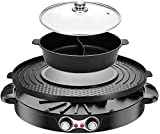 SEAAN Electric Hot Pot Grill Pan Indoor Korean BBQ Teppanyaki Grill Shabu Shabu Pot with Divider, Separate Dual Temperature Control, Removable Cleaning, Capacity for 1-4 People,110V(Black)