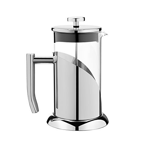 ANGELICA French Press Coffee Maker Stainless Steel & Glass Tea Infuser, 34oz, 1000ml, 3 Mug Sturdy Eco Friendly Design, Easy to Clean with Free Scoop & How to Use Brew Guide