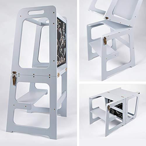 Montessori - Torre de aprendizaje para cocina 2 en 1, torre de aprendizaje para 1 año, mesa y silla con pizarra, ayudante de cocina plegable (gris)