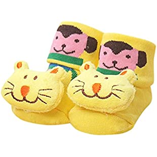 Customer reviews Newborn Baby Girls Boys Socks, LILICAT Anti-Slip Socks Cute Cartoon Cotton Slipper Bell Shoes Boots 0-12 Months Multi-Color Optional (A)