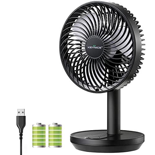 KEYNICE 卓上扇風機 首振り 充電式 usb扇風機 リズム風 ミニ扇風機 超強風 静音 風量3段階調節 長時間連続使用 節電 省エネ おしゃれ ブラック