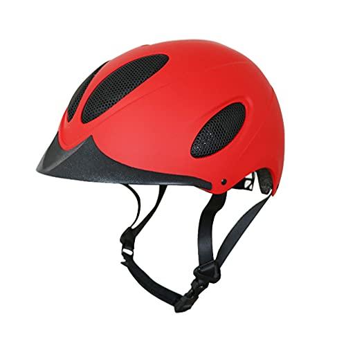 CGBF-Kinder Sicherer Atmungsaktiver Reithelm,Reithelme Fahrradhut Kopfschutzausrüstung für Kinder Reiten Skateboard Scooter Rollerskate Bike,Rot,M