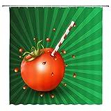 EdCott Tomatensaft Duschvorhang Tomate Badezimmer Duschvorhang Grüner Hintergr& Tomate Duschvorhang Dekoration Stroh Tomate Duschvorhang Set verblasst Nicht Tomatensauce Duschvorhang