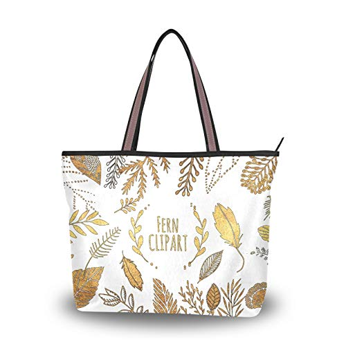 Tote Bag Fern Leaf Autumn Pattern Shoulder Bags Handbags Purse Shopping Light Weight Strap for Women Girls Ladies Student