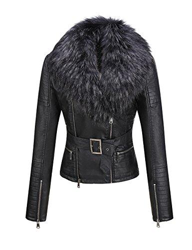 Bellivera Frauen Jacke aus Kunstleder Jacke, abnehmbare Jacke mit Pelzkragen