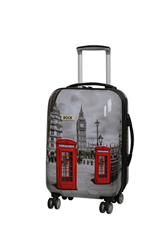 Rock London Montana - Valigia espandibile a 8 ruote Nero Big Ben Small - 55 x 36 x 24.5 cm - 3 kg