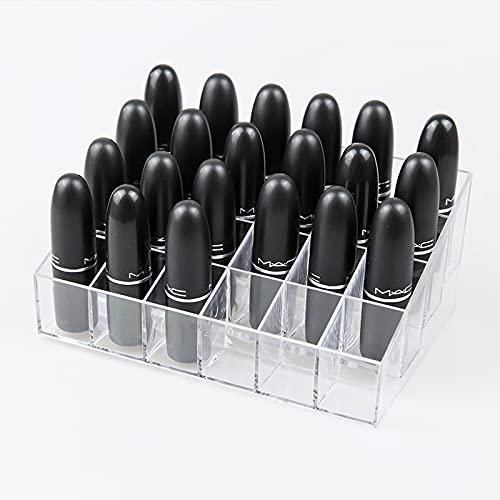 N\C Organizador de maquillaje acrílico con 24 rejillas para pintalabios, soporte para lápiz de cejas, soporte para brochas de...