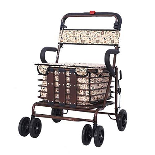 Klappbarer Rollator Walker mit Feststellbremse Sitzablage Korb Gehhilfe für einfache Lagerung und Transport Eingeschränkte Mobile Unterstützung