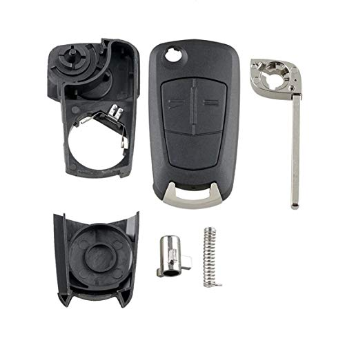 Para Vauxhall Opel Corsa Astra Vectra Zafira 2 botones Remot Flip Key Fob Case A53-Negro
