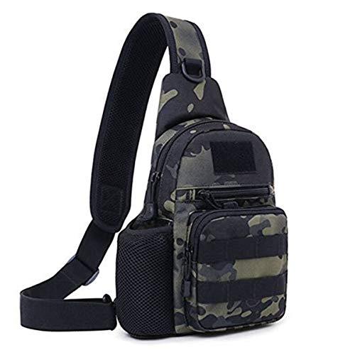 Huntvp Taktisch Brusttasche Military Schultertasche mit Wasserflasche Halter Chest Sling Pack Molle Armee Crossbody Bag Militärisch Umhängetasche für Wandern Camping - Typ-1 Grau Camouflage