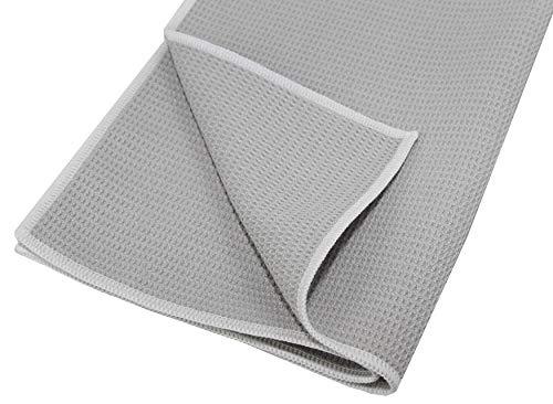 HELOME 10x Microfaser-Trockentuch und Geschirrtuch - Microfasertuch für Bad und WC, Küche, Auto im Haushalt und Gewerbe. Trocknet Auto-Fenster, Duschkabinen, Gläser, Besteck und Geschirr streifenfrei