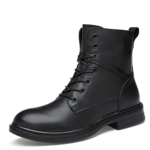 BnAnCuBuHu Men's Chukka Motorcycle Boots Cowhide Gentleman Chukka Chelsea Work Ankle Western Handmade Dress Shoe Casual Formal Classic Combat Boots Performance Magician Round Toe Shoes for Men Black