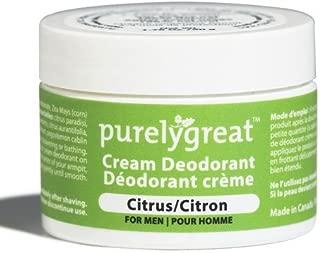 Purelygreat Men's Natural Deodorant | Aluminum Free Deodorizer | Long Lasting Deodorant Cream | EWG Verified, Vegan, Cruelty-Free, No Aluminum, No Parabens, BPA Free | Essential Oils (Citrus Scent)