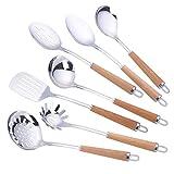 Utensili da cucina,Set di 7 Set di utensili da cucina utensili da cucina in acciaio inox,include: spatola,schiumaiola,cucchiaio,paletta e mestolo Utensili da cucina,Termoresistenti con Manico Legno